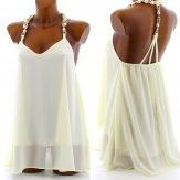 Tunique Collier Bijoux Mousseline Robe Ivoire - OLYMPIA - Femme CharlesElie94