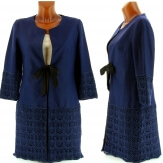 Manteau Couture Lin Dentelle - ANTOINETTE - Trench BLEU MARINE-Trench femme-CHARLESELIE94