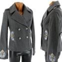 Parka veste brodé laine  bijoux - HIBOUX -  GRIS