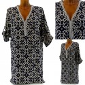 Tunique Robe Chemise Coton Strass Perles 36/46 - ARDITA