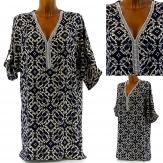 Tunique Robe Chemise Coton Strass Perles 36/46 - ARDITA -